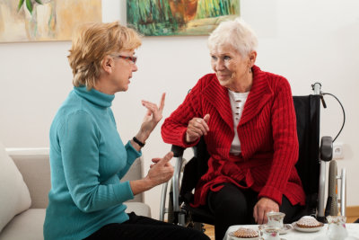 two senior women talking